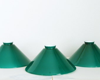 Vintage Emeralite Cased Green Glass Lamp Shades Set of 3 - Art Deco Glass Pendant Lamp Shades