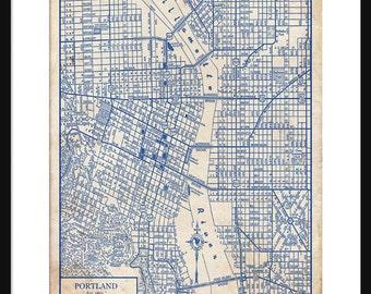 Portland Oregon Map 1944 Street Map Vintage Blueprint  Grunge Print Poster