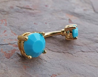 14kt Gold Belly Button Ring Turquoise Gem Prong Set