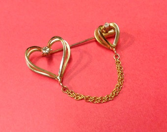 Chained Heart Stickpin with Rhinestones Brooch Valentines Pin