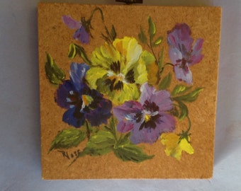 Spring Pansy Painting on Wood Block
