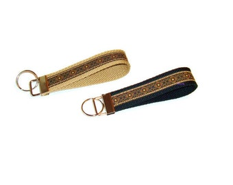 Jaquard Ribbon Key Fob - Black and Tan - Unisex Key Ring - Stocking Stuffer