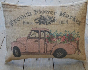 French Pink Flower truck burlap Pillow, French Flower Market, Rustic French Farmhouse, Shabby Chic, INSERT INCLUDED