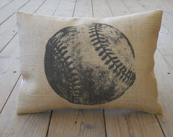 Baseball Burlap Pillow, Sports Baseball, INSERT INCLUDED