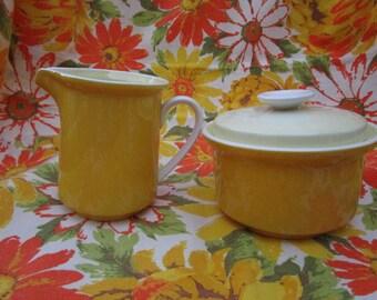 Pottery Creamer and Sugar Set   Lemon Yellow  Made in Japan