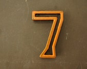"Vintage Industrial Number ""7"" Black with Light Orange and Blue Paint, 2"" tall (c.1940s) - Monogram Display, Shadow Box Number, Art"