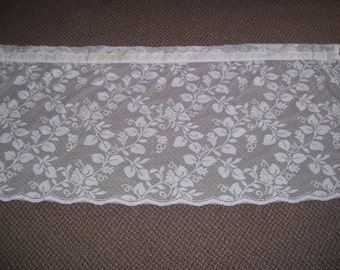 TWO White Lace Curtain Panels-46wide and 22 long.Price Reduced