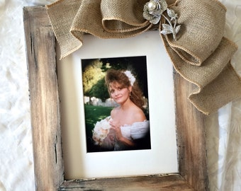 8x 10 Picture Frame with Bow Barn Wedding Baby Personalize Bride Portrait Wood Rustic Burlap Jewel Diamond Pearl Bling Name Personalize
