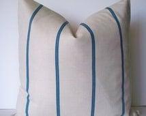 Blue Grain Sack Pillow Blue Ticking Stripe Pillow BOTH SIDES
