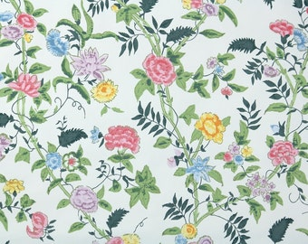 "Vintage Wallpaper by the Yard 70s Retro Wallpaper - 1970s Pink Yellow and Blue Floral on White, ""Chinese Roses"""
