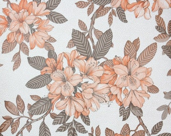 Retro Wallpaper by the Yard 70s Vintage Wallpaper - 1970s Orange Rhododendron with Brown Leaves