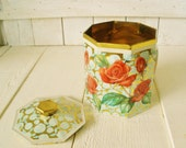 Vintage metal tin red roses on gold lid octagonal retro design 1960s