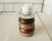 Vintage candlestick upcycled wood glass stacked coasters votive