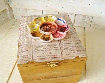 Upcycled wood cigar box embellished paint palette artists storage