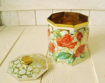 Vintage metal tin red roses on gold lid octagonal retro design 1960s
