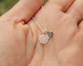 Sterling Silver Rainbow Druzy Quartz Bezel Necklace with Heart... Tiny Minimalist Jewelry