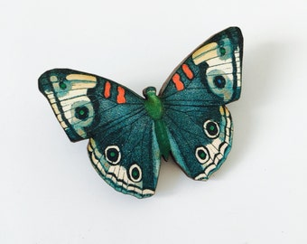 Dark Blue Teal White Butterfly Woodland Wooden Brooch Pin Birthday Gift Wood Nature Wildlife Small Present Insect Unique for Her Butterflies