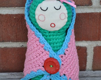 Crocheted Sleeping Quiet Baby Doll with Blanket