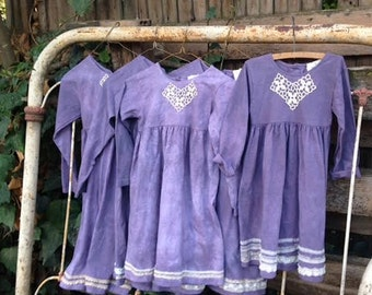 hand dyed Custom made-to-order bride flower girl bridesmaid prairie boho gypsy vintage lace shabby rustic barn wedding matching dresses
