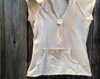 funky summer hand dyed tan latte tattery boutique boho vintage lace rustic soft cottage gypsy hoodie