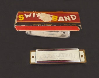 1950s Vintage Swing Band Harmonica, Made In Japan, Musical Instrument, French Harp, Reed Instrument, Vintage Music Instrument, Original Box
