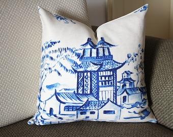 Designer cotton linen Pillow - blue  Pavilion Chinoiserie Pattern, blue Pillow - Throw Pillow 371