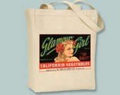 Vintage California Vegetable Brand, Glamour Girl Crate Label Black or Neutral Canvas Tote  -- selection of sizes available