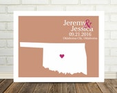 Oklahoma Wedding Gift Personalized Oklahoma Map Oklahoma Poster Oklahoma Print Marriage Gift Marriage Present Valentines Day Gift for Her