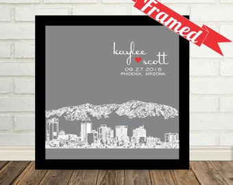 Wedding Gift, City Skyline, Personalized Couples Art, Framed Art, Wedding Decor, Valentines Day Gift, Gift for Him, Wedding Art Gift