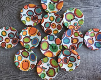 """Buttons large decorated coconut buttons for cushions or fashion designs 2"""" (50mm) diameter set of 6"""