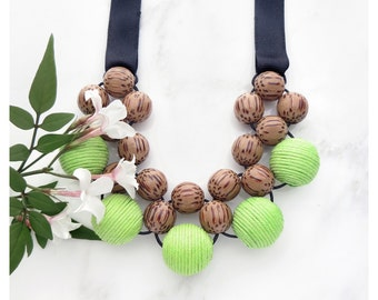 Wooden Statement Necklace / Palmwood Lime Green Necklace / Wood Bead Necklace / Bib Necklace / Tie On Necklace / Chunky Necklace