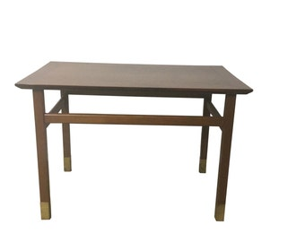Mid Century Modern Wood and Brass End Table