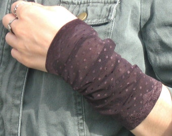 Wrist Cuff, Wide Wrist Cuff, Tattoo Cover up, Brown Wrist Cuff, Wrist Warmer