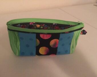 Zipper bag, colorful pencil bag, crayons or markers bag, makeup bag