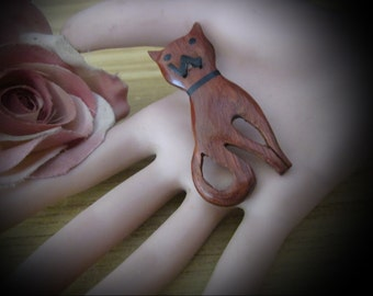 80's Handcrafted Wooden Cat Brooch