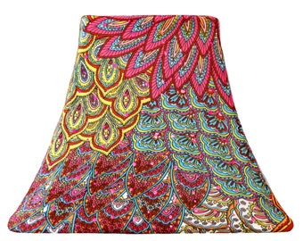 Fuchsia Peacock - Custom SLIP COVER for Lamp Shade - fits perfectly
