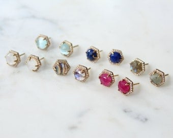 Gemstone Hexagon Pave Stud Earrings - Aqua Chalcedony - Labradorite - Lapis - Moonstone - Green Onyx - Rose Quartz
