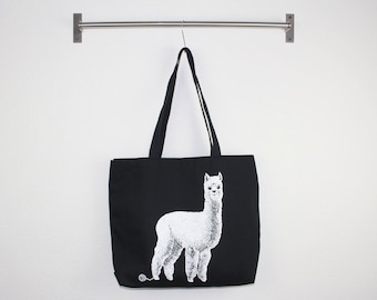 Alpaca Canvas Tote - Screen Printed Cotton Grocery Bag - Large Canvas Shopper - Reusable Grocery Tote Bag - Llama love