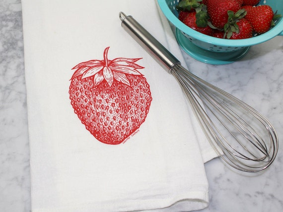 Flour Sack Towel - Tea Towel - Kitchen Towel - Hand Printed Dish Cloth - Strawberry - Fruit Kitchen Towel