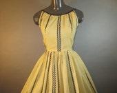 "1950's Sun Dress // Ilene Ricky Yellow/Black Dress // Full Skirt Dress...24 1/2"" waist"