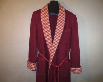 1940's Wool Robe // Men's Burgundy Wool Bathrobe // JAEGER All Wool, Made in Great Britian...Large