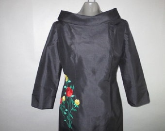"Black Silk Wiggle Dress With Embroidery // Max Nugus Designer Dress // Black Silk Sheath...30"" waist"