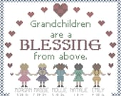 Grandchildren are a blessing from above cross stitch pattern