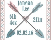 Baby Birth Record Cross Stitch Pattern with arrows and tribal border
