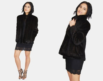 Dark Brown MINK FUR Jacket Vtg 70's KOSLOW'S Feathered Straight Fit Long Sleeve Stand Up Collar Lined Minimalist Cape Coat - Medium/Large