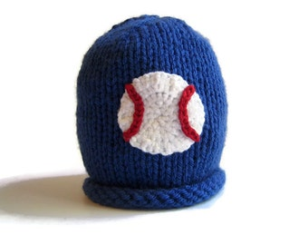 Knit Baby Hat - baby shower gift - knitted infant hat - baby beanie cap - boys baseball hat - knitted baby hat - baby accessories