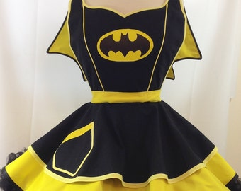 Bat Girl Pinup Apron, Super Hero. Comic Book Cosplay, Costume, Retro Apron, Woman's Apron