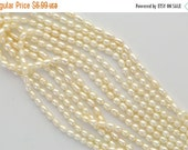 ON SALE 1 Strand 7x5mm Cultured Freshwater Oval Rice Pearls . Off White gpe0026