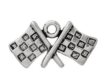 5 Antique Silver Crossed Checkered RACING FLAGS Charm Pendants  chs1343