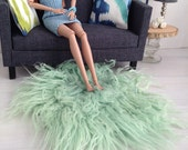 Plush shaggy faux fur living room rug in mint for sixth scale or playscale diorama or dollhouse